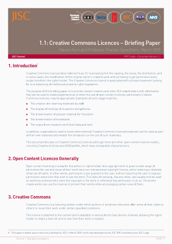 1.1: Creative Commons Licences – Briefing Paper