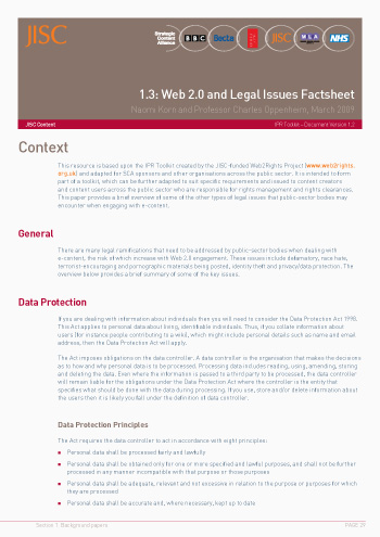 1.3: Web 2.0 and Legal Issues Factsheet