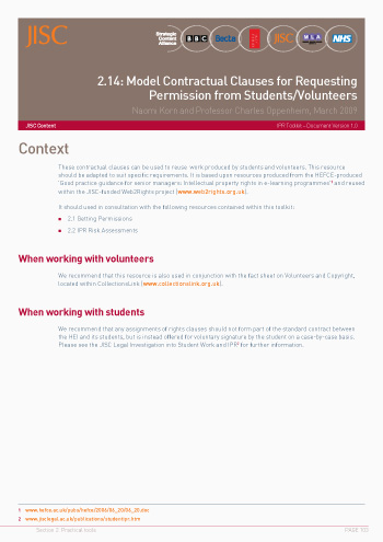 2.14: Model Contractual Clauses for Requesting Permission from Students/Volunteers