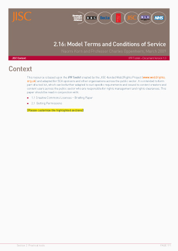 2.16: Model Terms and Conditions of Service