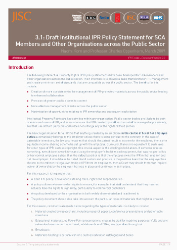 3.1: Draft Institutional IPR Policy Statement for SCA – Members and Other Organisations across the Public Sector