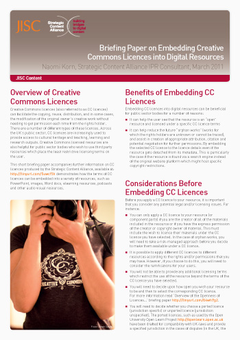 Briefing Paper on Embedding Creative Commons Licences into Digital Resources