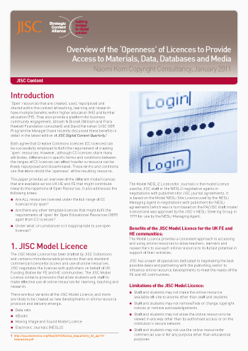 Overview of the 'Openness' of Licences to Provide Access to Materials, Data, Databases and Media (Briefing paper)