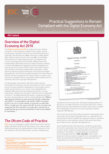 Practical Suggestions to Remain Compliant with the Digital Economy Act (Briefing Paper)