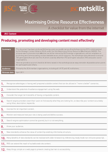 Maximising Online Resource Effectiveness: A checklist for value from the internet