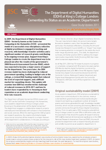 Sustainability Case Study 2011: The Department of Digital Humanities (DDH) at King's College London
