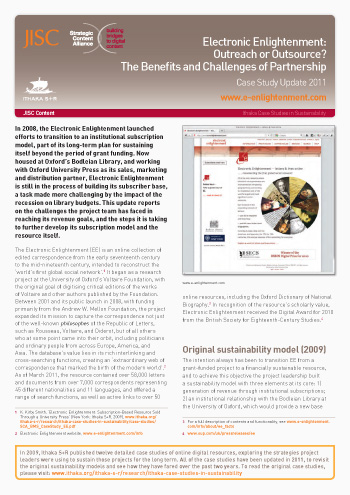 Sustainability Case Study 2011: Electronic Enlightenment