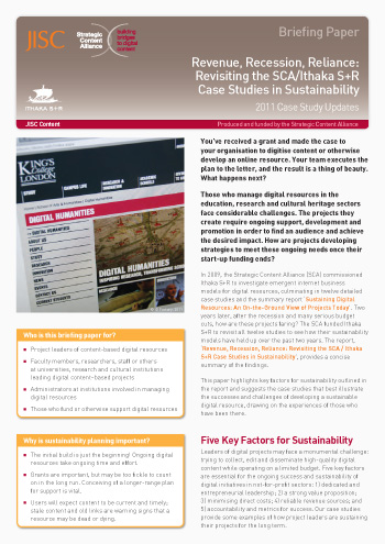 Revenue, Recession, Reliance: Revisiting the SCA / Ithaka Case Studies in Sustainability (Briefing paper)