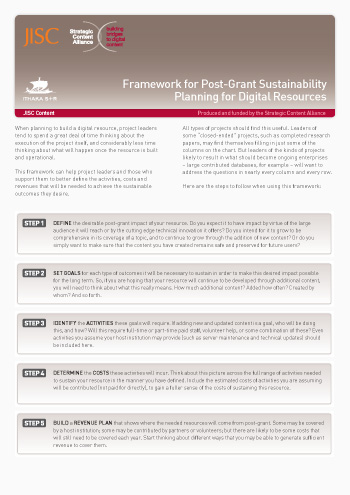 Framework for Post-Grant sustainability- Planning for Digital Resources (Decision-making tool)