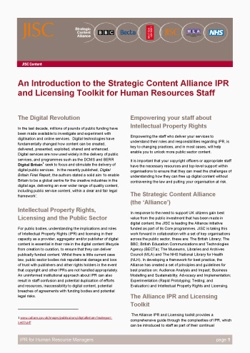 An Introduction to the Strategic Content Alliance IPR and Licensing Toolkit for Human Resources Staff (Briefing Paper)