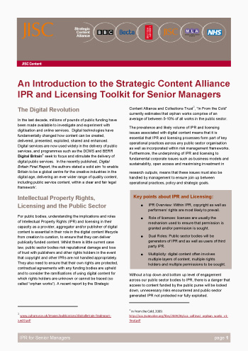 An Introduction to the Strategic Content Alliance IPR and Licensing Toolkit for Senior Managers (Briefing Paper)