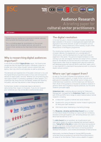 Audience Research; A briefing paper for cultural sector practitioners