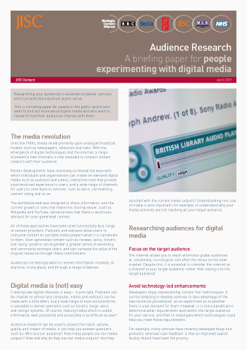 Audience Research; A briefing paper for people experimenting with digital media