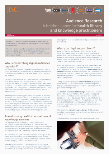 Audience research: A briefing paper for health library and knowledge practitioners