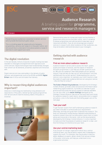 Audience research: A briefing paper for programme, service and research managers