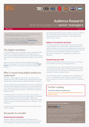 Audience research: A briefing paper for senior managers