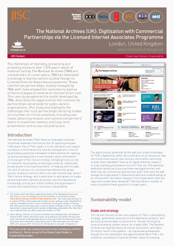 Sustainability Case Study 2009: The National Archives (UK): Digitisation with Commercial Partnerships via the Licensed Internet Associates Programme, London, United Kingdom
