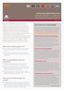 Sustaining Digital Resources: A Briefing Paper for Leaders of  Projects with Scholarly Content