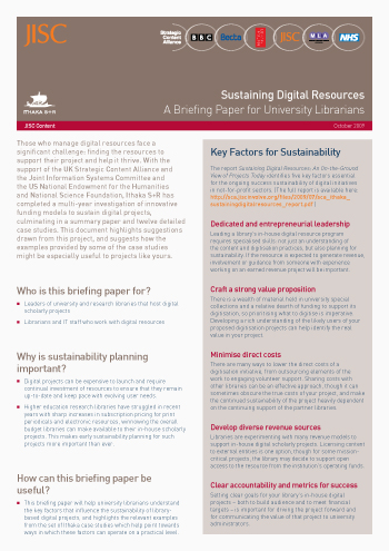 Sustaining Digital Resources: A Briefing Paper for University Librarians