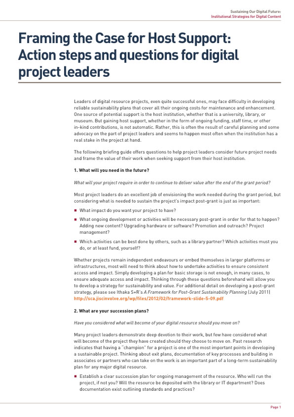 Framing the Case for Host Support: Action steps and questions for digital project leaders